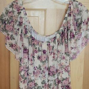 No Comment floral stretch off-shoulder blouses
